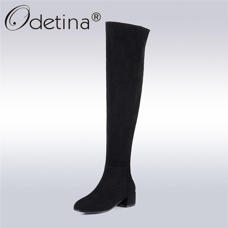 Odetina 2017 Mode En Cuir Véritable Femmes Sur Le Genou Bottes D'hiver chaud Vache En Daim Cuisse Haute Bottes Talon épais, Plus La Taille 45