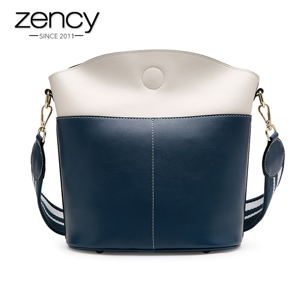 Zency Large Capacity Bucket 100 Genuine Leather Black Tote Handbag Fashion Women Shoulder Bag Panelled Crossbody