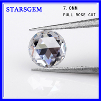 Synth diamonds EF white colorless 7mm single rose cut moissanites loose gems stones for jewelry making