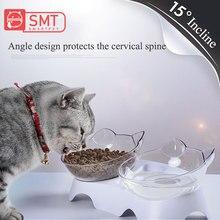 SMARTPET 15 градусов регулируемая кошачья миска пищевой чаши защита шейного позвонка косой котенок едят Двойная чаша с кошачьими ушами