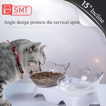 smartpet-15-degree-adjustable-cat-basin-food-bowl-protection-cervical-vertebra-oblique-kitten-eating-double-bowl-with-cat-ears