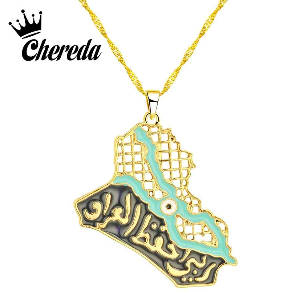 Chereda Iraq Map Pendant Necklaces for Women&Men Ethnic Muslim Iraqi Jewelry Blue Eye Allah Necklace