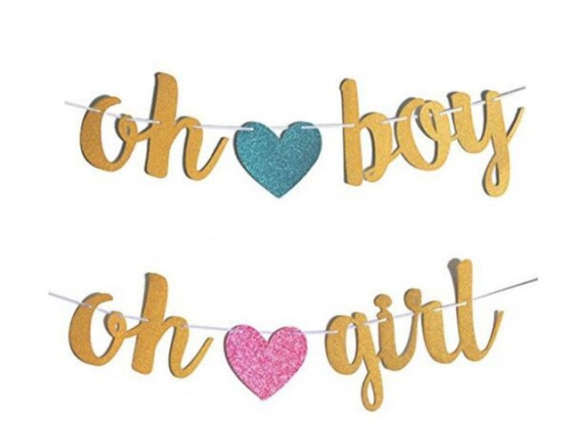 large gold glitter oh baby boy girl banner for baby shower party