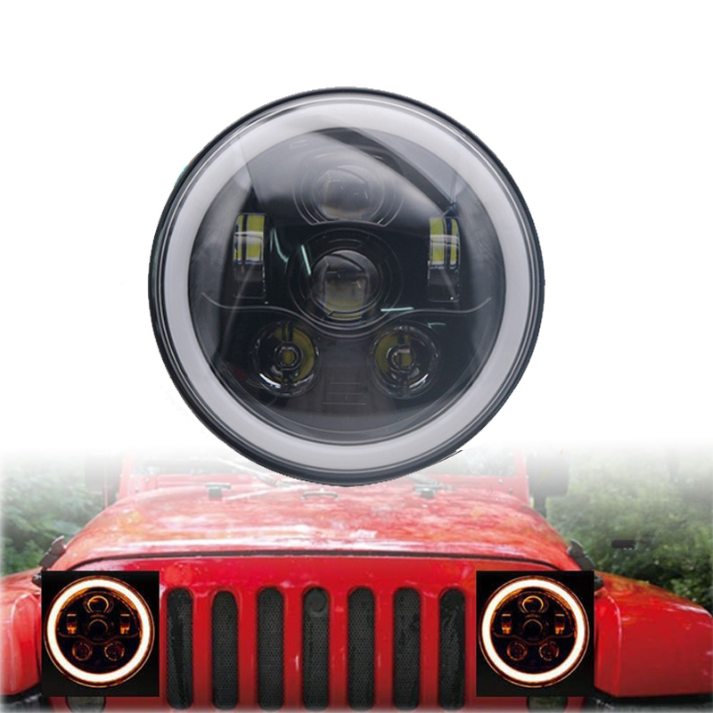 TNOOG 7 Daymaker LED Headlight Halo with Turn Signal Light Angel Eye Ring DRL for Jeep Wrangler JK LJ CJ marloo pair 7 led headlight for jeep wrangler jk headlamp with halo angel eye