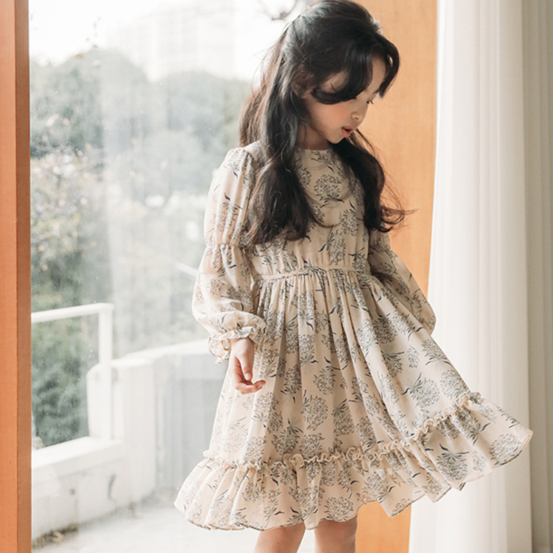 chiffon floral pattern dresses for girls of 12 10 11 14 2 4 6 years old High Quality children dresses 8 year long sleeve clothes