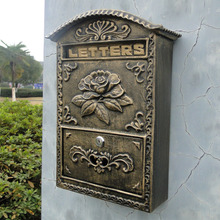 Cast Iron Flower Mailbox Embossed Trim Decor Bronze Look Free Shipping Home/Garden Decorative Wall Mail Post Box