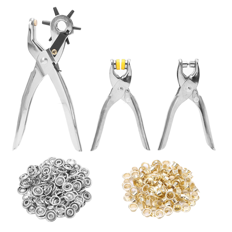 128pcs/set Leather Hole Punch Repair Tool Eyelets Grommets Pliers Kit Hand Tools