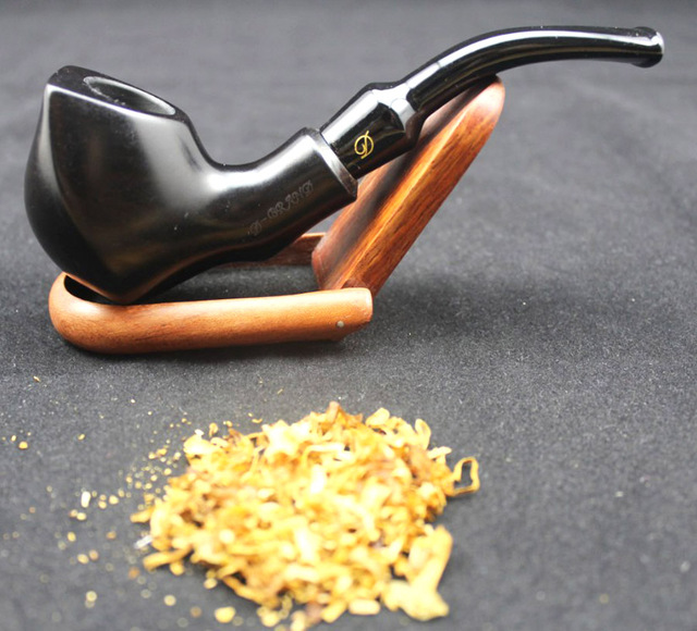 Handmade Ebony Wood Bent Type Smoking Pipe Round 2