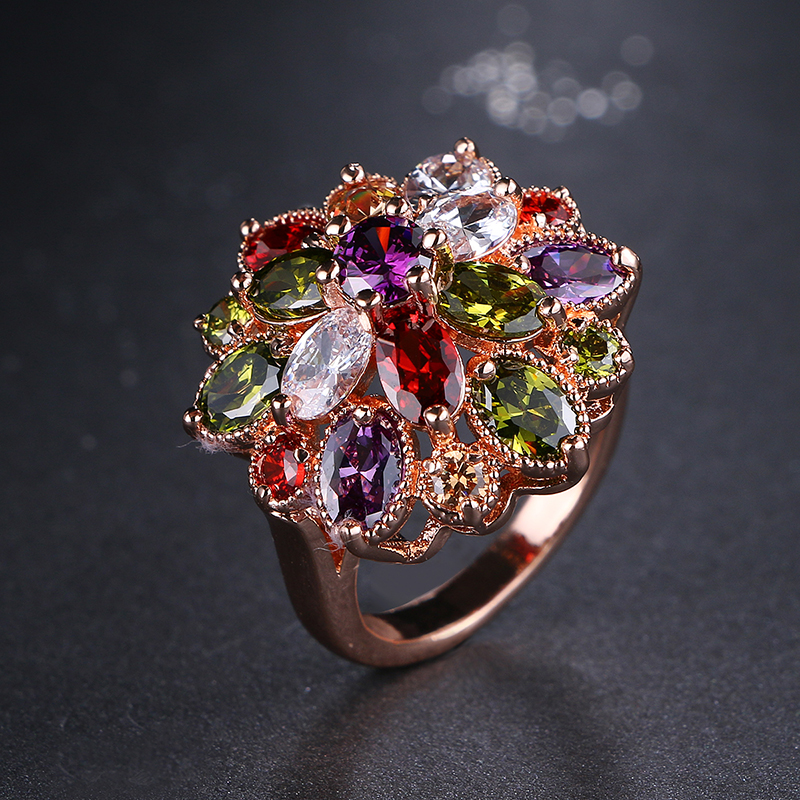 Emmaya Design Design Unique Top Rose Gold Color Colorful AAA Zircon Wedding Rings bijoux Flower Jewelry For Party Gift Women
