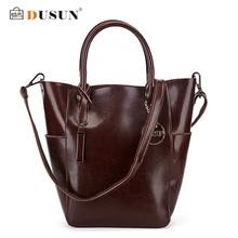 DUSUN Brand Handbags Women Designer Vintage Bucket Shoulder Bag Ladies Genuine Leather Messenger Bag Fashion Crossbody