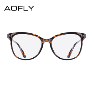 Image 3 - AOFLY moda gözlük kadın perçin tasarım büyük boy yuvarlak optik çerçeve klasik gözlük Vintage okuma şeffaf Lens AF9205