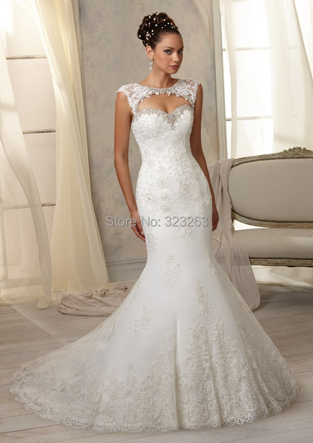 New Fashion Mermaid Lace Wedding Dresses Keyhole Back With Removable Cap Sleeves LK064
