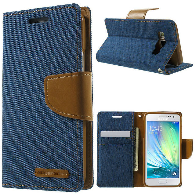 For Samsung A3 2015 Case Original MERCURY GOOSPERY Canvas Wallet PU Leather Flip Case For Samsung Galaxy A3 2015 A300 4.5 inch
