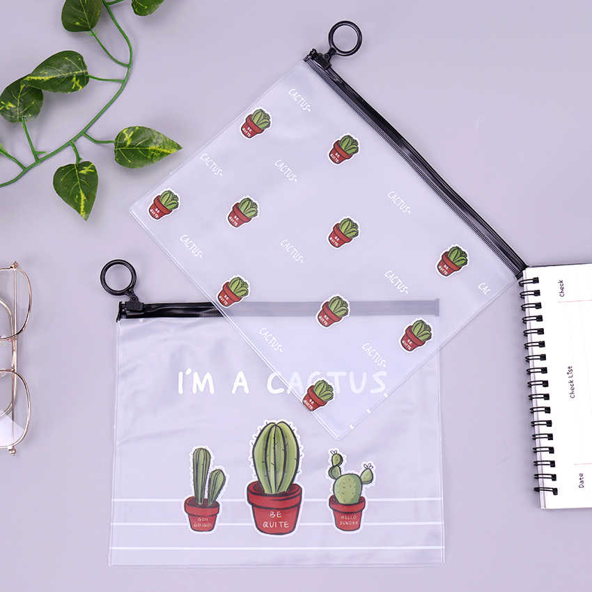 Cactus PVC Tahan Air Kasus Pensil Transparan Alat Tulis A5 File Folder Penyimpanan Peralatan Kantor Sekolah Pensil Tas untuk Girls