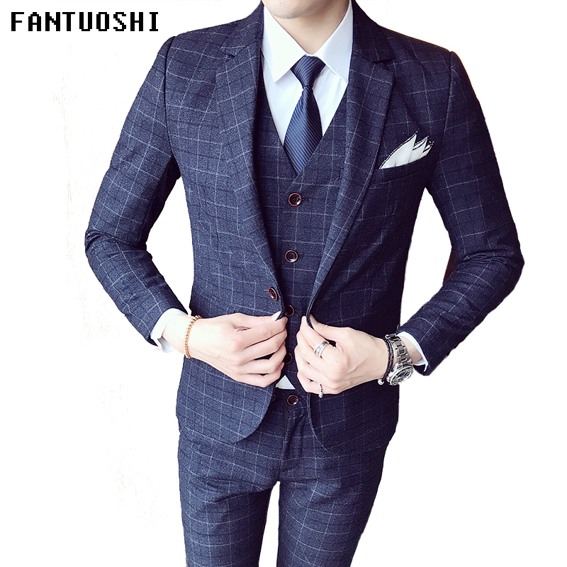 Высококачественный Костюм Джентльмена классический мужской тонкий синий клетчатый Повседневный Свадебный костюм удобный деловой повседн...