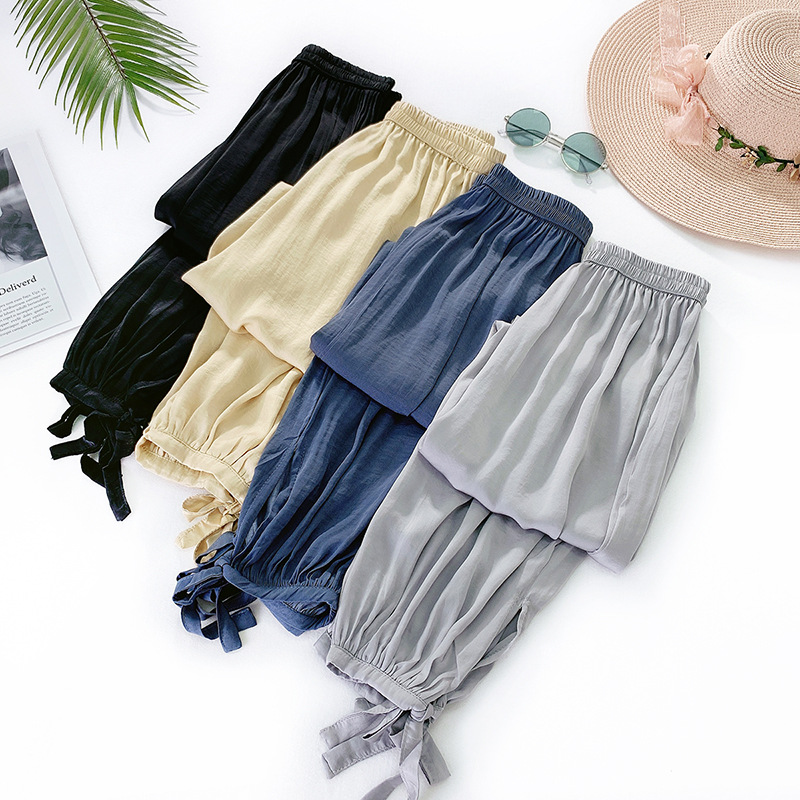 Summer Ice silk   wide     leg     pants   Women Elatic High Waist Harem   Pants   Casual Pocket Ladies Sweatpants Fashion Candy Colors Trousers
