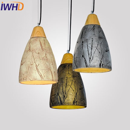 IWHD Cement Vintage Lamp Industrial Lighting Pendant Lights Style Loft Retro Wood Hanging Lamp Light Fixtures Kitchen Luminaire