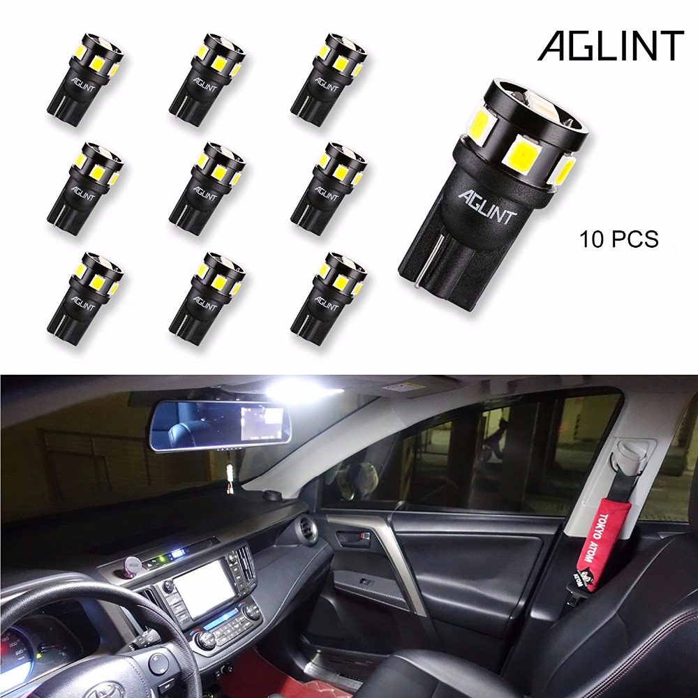 AGLINT 10PCS W5W T10 LED Bulb 9-SMD 2835 Chipsets 194 2825 LED Car Replacement Bulb for Interior Dome Map License Plate Light cawanerl car canbus led package kit 2835 smd white interior dome map cargo license plate light for audi tt tts 8j 2007 2012