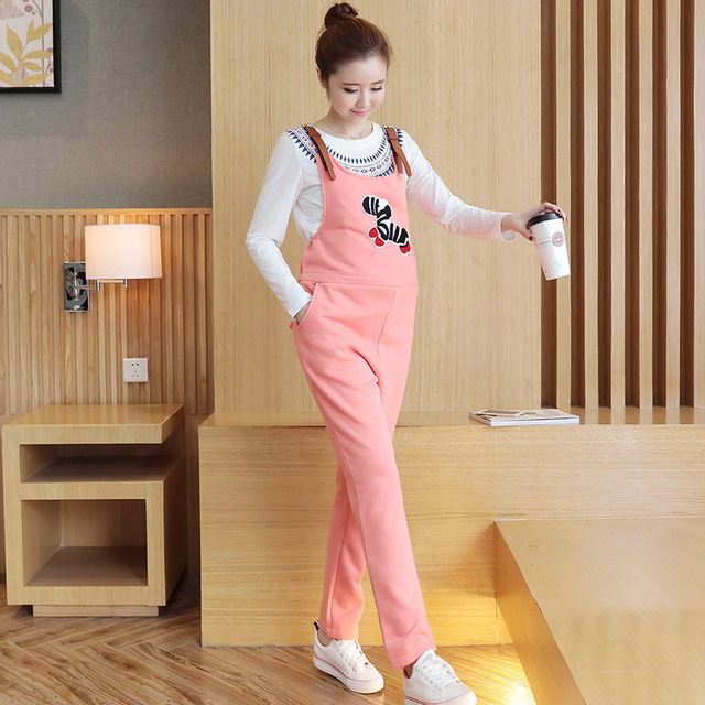 Pregnant women suspender pant trousers with braces Containing velvet Sling pants Mickey's pattern Maternity suspender pant