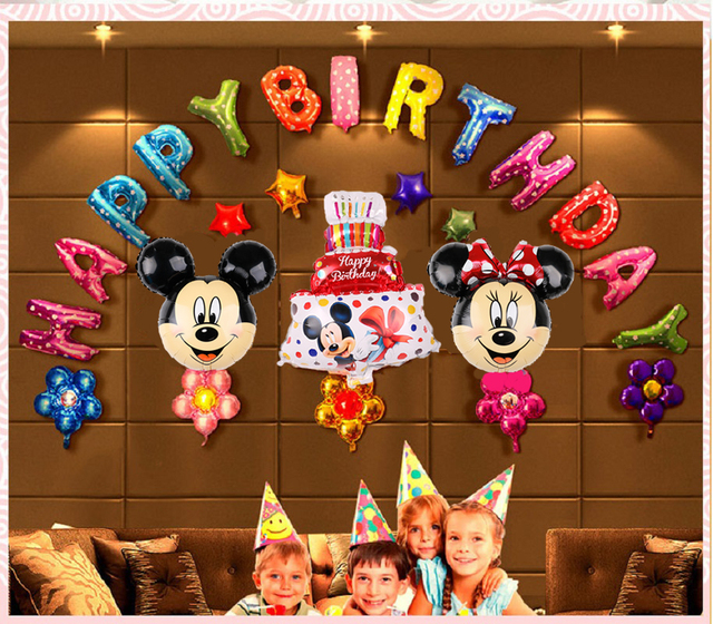 28pcs Mickey Minnie Foil Balloons Mouse Birthday Party Decorations Happy Baby Shower Letter Alphabet