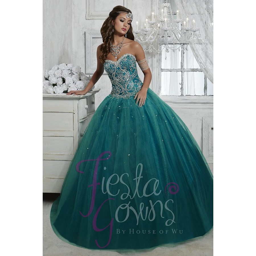 Dark Cyan Bejeweled Bodice Quinceanera Dresses Tulle Ball Gowns New ...