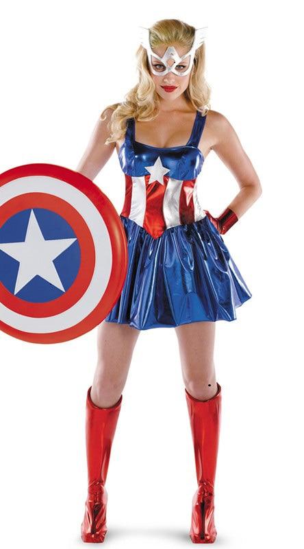 Карнавальный костюм Капитана Америки для взрослых, женский костюм Капитана Америки, сексуальный Карнавальный костюм для Хэллоуина, нарядн