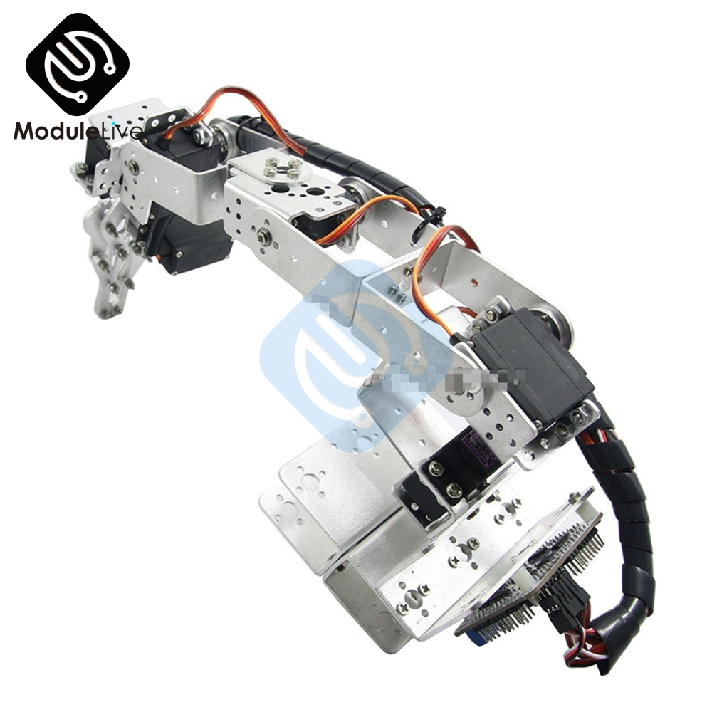 Image 5 - ROT3U 6DOF Aluminium Robot Arm Mechanical Robotic Clamp Claw for Arduino Silver-in Instrument Parts & Accessories from Tools