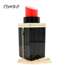 Fashion Women Bag Evening Clutch Bags Lipstick Shape Women Handbag Clutch Tote Evening Bags Party Chain Bag Lipstick Clutch