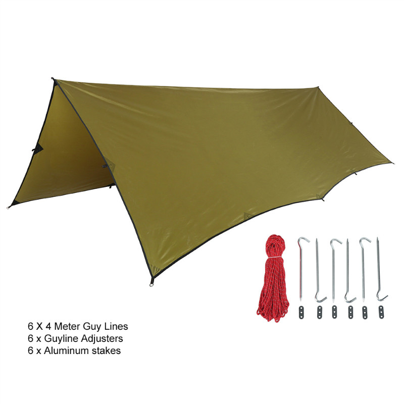 OneTigris 210T Polyester Sun Shelter 3x4m Compact Versatile Durable Backpacking Tarpaulin Beach Tent Awning 100% Waterproof