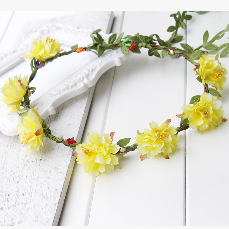 Wildflower Pink Blue Yellow Flower Crown Boho Festival Headband
