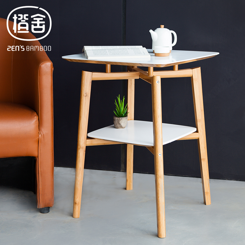 ZEN'S BAMBOO Square Tea Table Double Layer Bamboo Coffee Table Wooden Table Side table Living room/bedroom/balcony furniture odd ranks yield retro furniture living room coffee table corner a few color seattle bedroom nightstand h