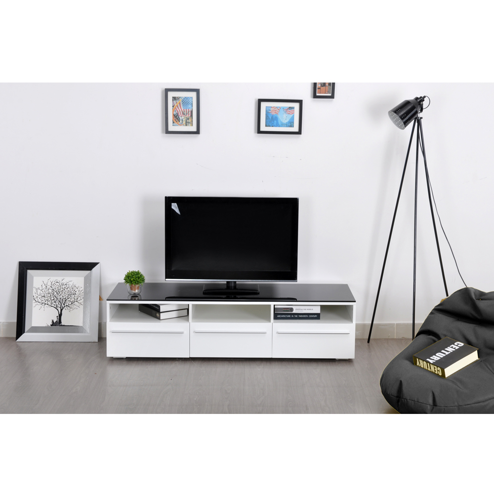 Aingoo Modern TV Stand White and Black Coffee Table Glass TV Stand ...
