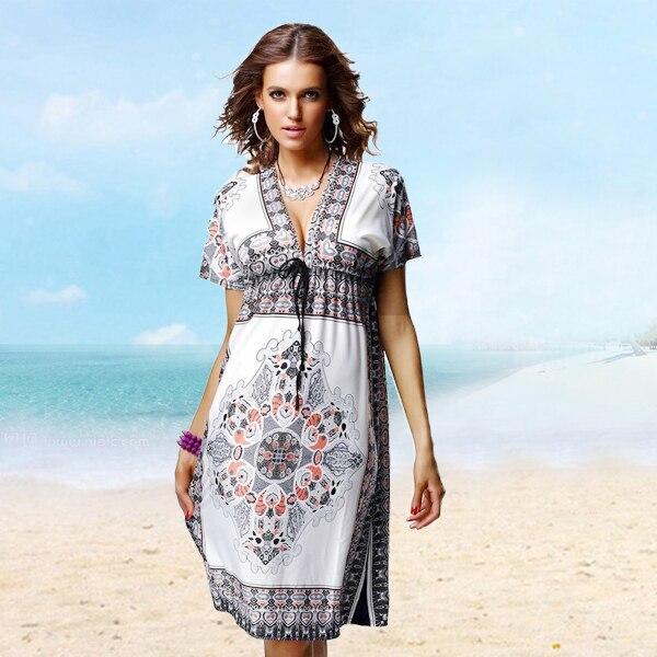 Women summer dress vintage print dresses fashion plus size ...