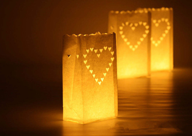 10 Pcs Lot Outdoor Candle Lantern Stars Tea Light Holder Paper Bag For
