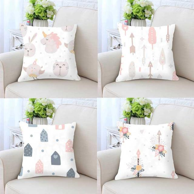 Cute Kawaii Pillow Unicorn Rabbit Nursery Decor Cushion Without Insert Pink S Room Kids Bedroom Decoration