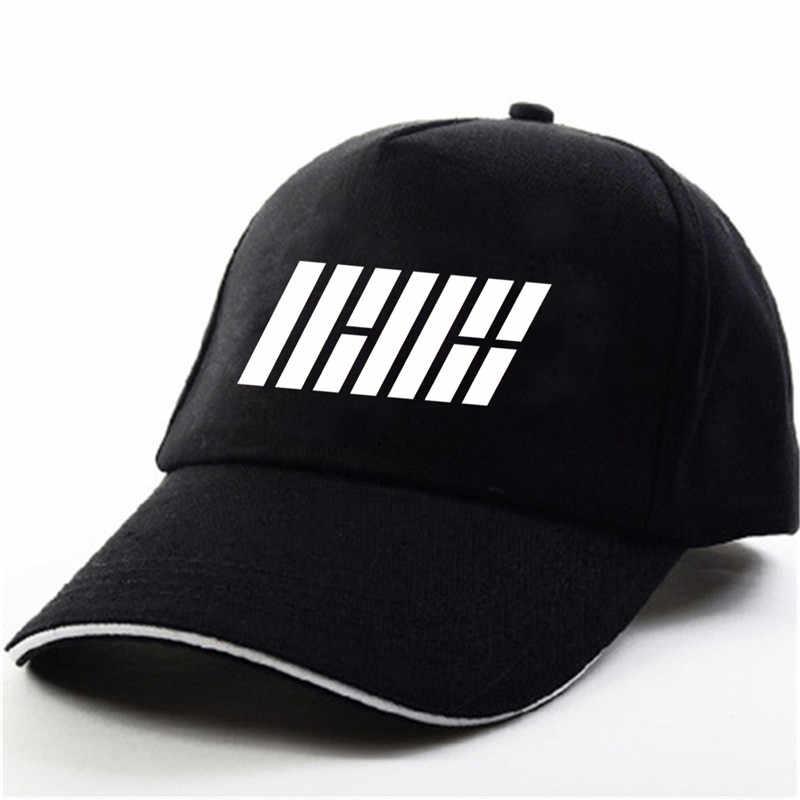 YOUPOP KPOP IKON 2017 nuevos niños empezar álbum negro gorra de béisbol hip-hop gorra hombres mujeres sombreros