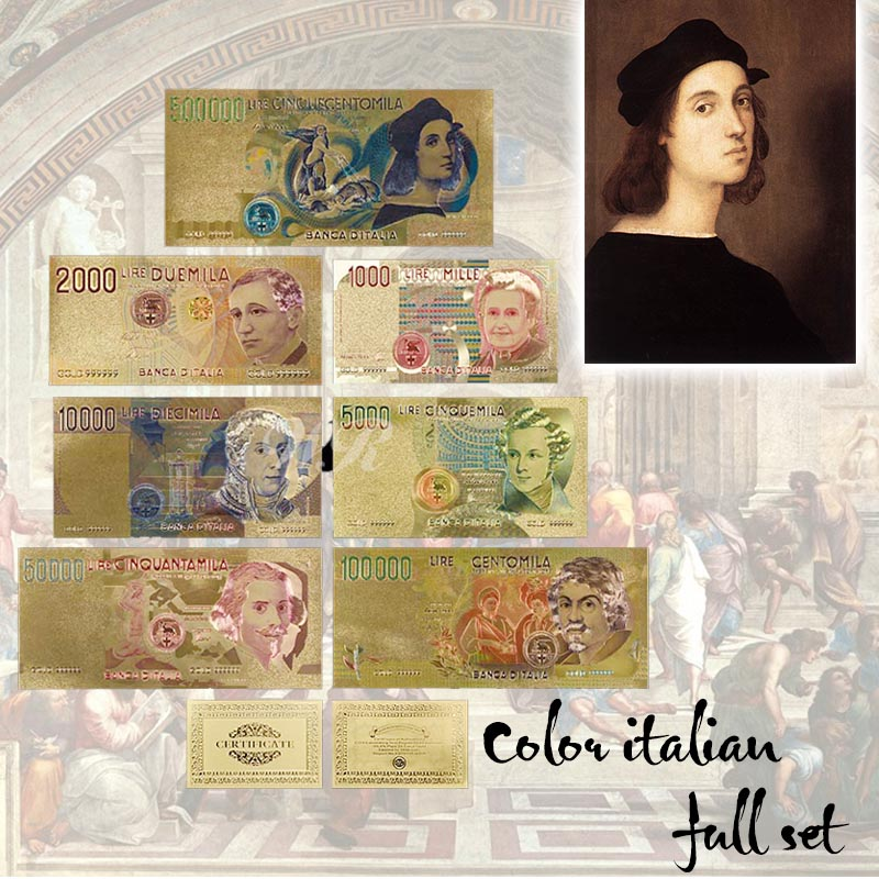 Nice Colorful Italy Lira-sedel Set 7pcs Full Set Metal Gold Foil-sedel italiensk valuta Souvenir för dekoration