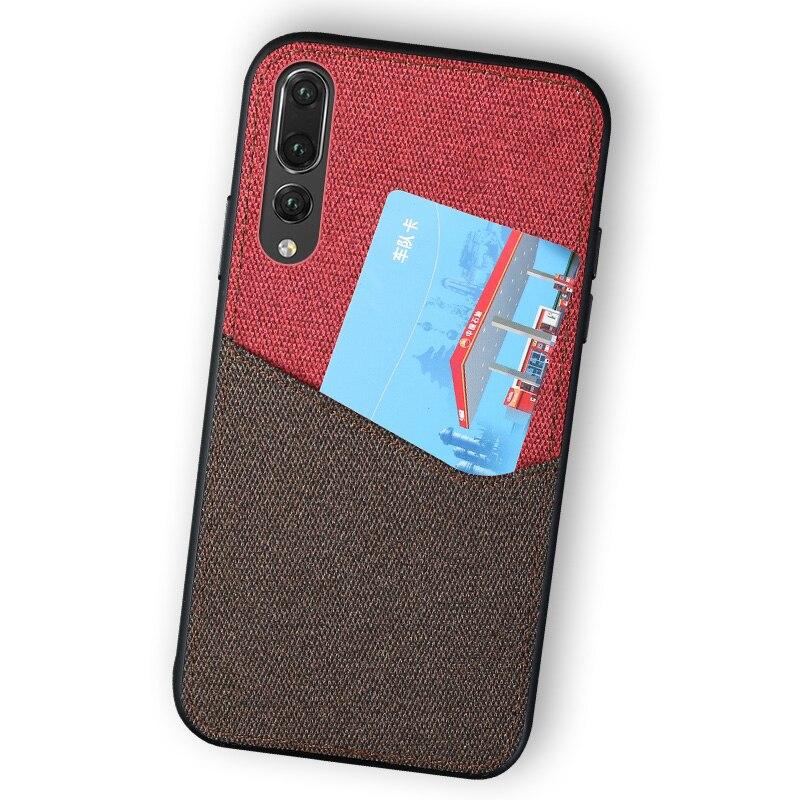 Canvas Phone Case For Huawei P10 Plus P20 Lite Mate 9 10 Pro Color Stitching Card Slot Design For Honor 9 Note 10 V9 V10 Nova 3