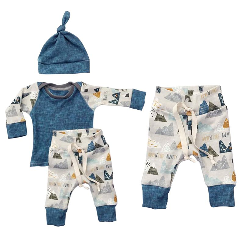 цены 2017 New Newborn Bebes Baby Boy Girl Clothes Long Sleeve Tops Pants Hat 3PCS Outfits Set Baby Clothing For Newborns