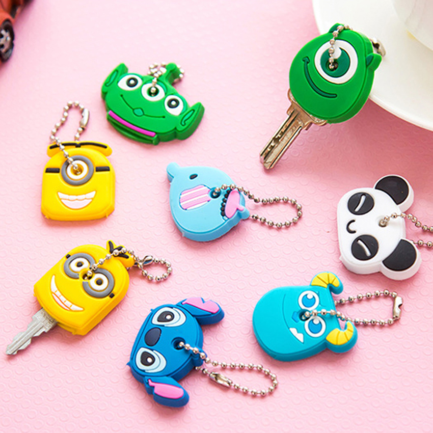 Cartoon Animal Key Cover Kids Home Keys Protection Portable Silicone Keychain Creative Panda/Elephant Shape Soft Keyring