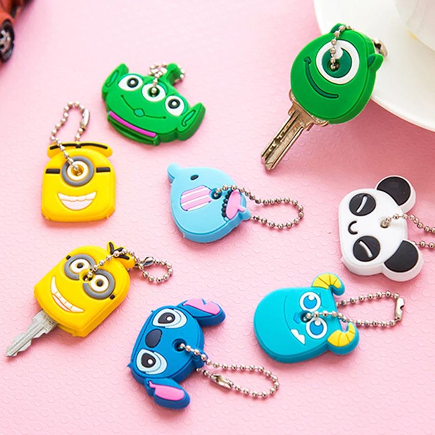 Cartoon Animal Key Cover Kids Home Keys Protection Portable Silicone Keychain Creative Panda/Elephant Shape Soft Keyring