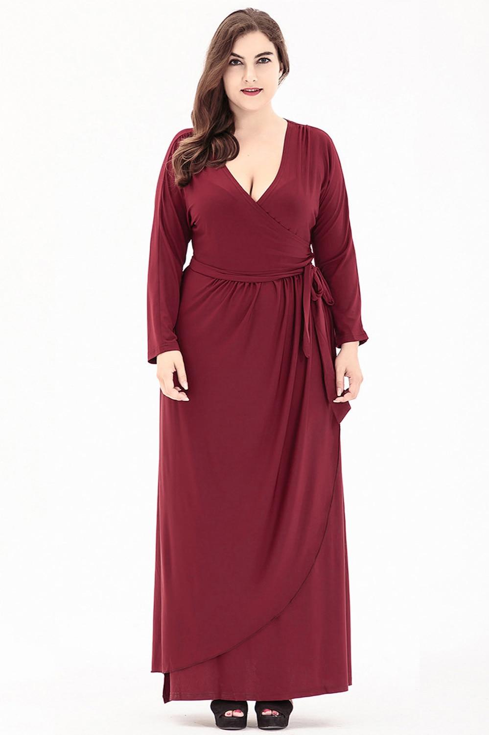 Il Grandi Abiti Profondo Più Vestito Allentate Di Donne Vintage red Maxi Casual 6xl Black Femme Robe Dimensioni Formato Solidi v Dress pSSqgd