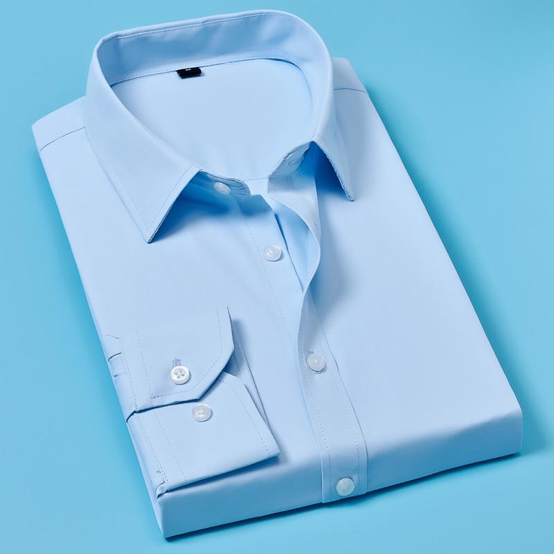 2019 Men Casual Long Sleeved White Shirt Men Long Sleeve Business Casual Shirts Brand Men Clothing Soft Comfortable
