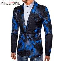 MIICOOPIE Mens Brand Blazer Casual Slim Fit Suit Jacket Male Flame Printed Blazers Terno Masculino Printed Dress Blazer Costumes