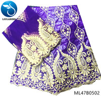 LIULANZHI purple bazin riche getzner 5yards cotton fabric 2019 style hot sales with 2yards mesh lace fabric for dress ML47B05