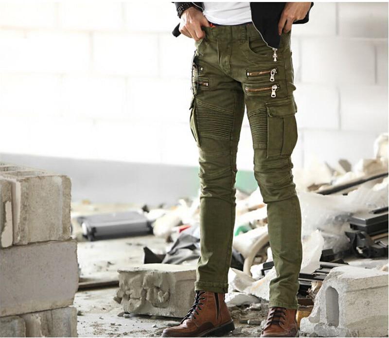 ФОТО 2015 Street Men Stretch Skinny Moto Pencil Jeans Denim Biker Cargo Jeans Design Multi Zipper And Pockets trousers S,M,L,XL,XXL
