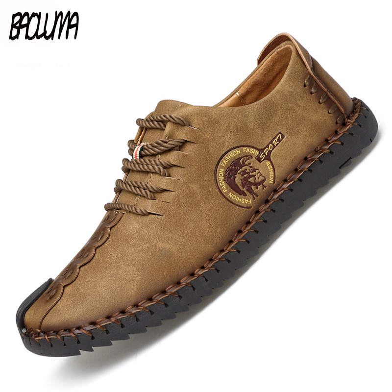 Classic Men Casual Shoes Lace-up Loafers Men Boat Shoes Handmade Comfortable Quality Flats Sale Man Moccasins Shoes Plus Size