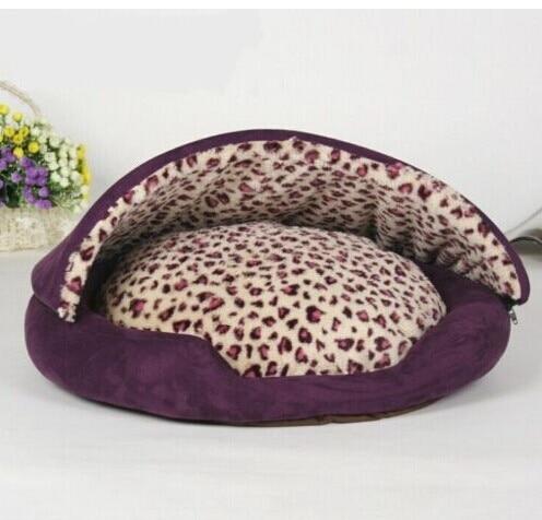Half covered leopard pet dog cat bed sleeping bag roof for Dog bed roof