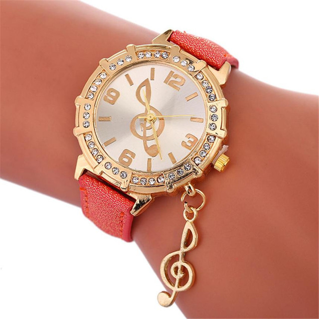 2018 Selling fashion watches Ladies Watch clock Fashion Musical Symbols Bracelet Watch Ladies Leather Casual Watch For Gift