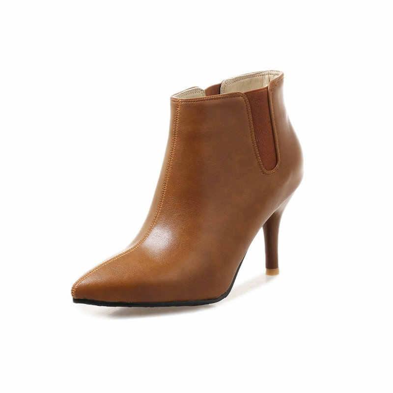 Sianie Tianie 2019 Kış Sonbahar Bahar Ince Yüksek Topuklar Ayakkabı Moda Sivri Burun Pompa Bayanlar Stilettos Çizmeler Kadın yarım çizmeler